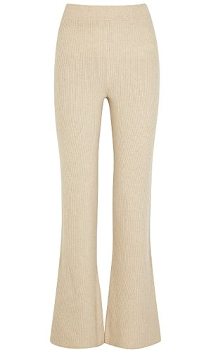 Nanushka Leba Ecru Flared Wool-blend Trousers