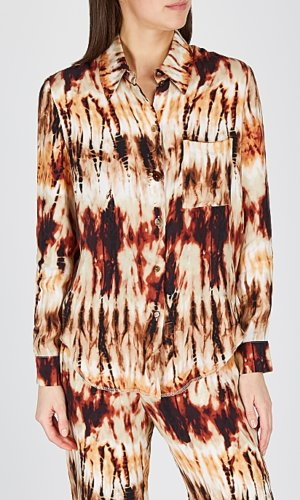 Nanushka Celes Tie-dye Brushed Satin Shirt