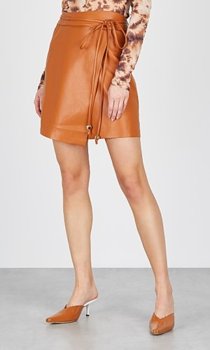 Sekoya Brown Faux Leather Skirt