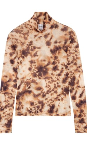 Nanushka Brown Tie-dyed High-neck Top