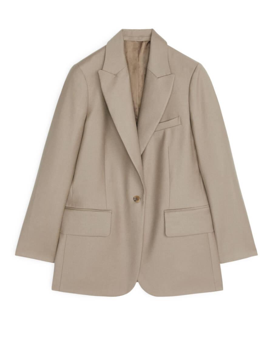 ARKET Wool Flannel Blazer - Beige