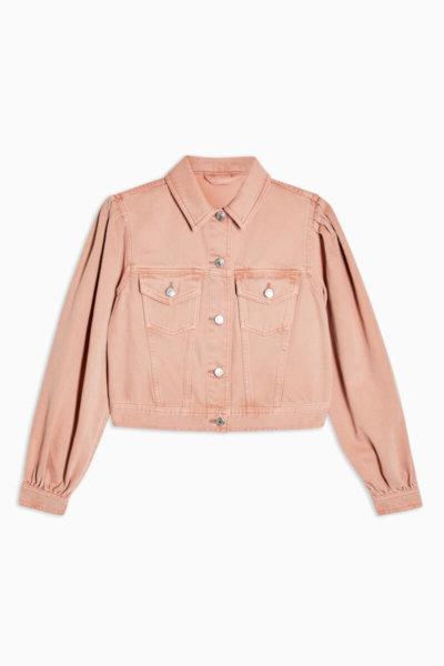 topshop CONSIDERED Apricot Denim Puff Sleeve Slim Fit Jacket