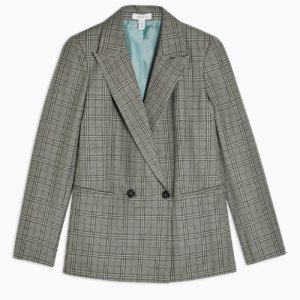topshop CONSIDERED Mint Check Double Breasted Blazer