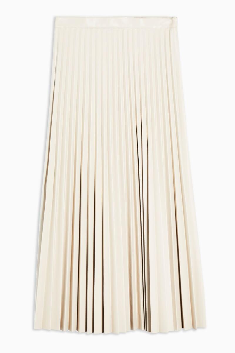 Cream PU Pleated Midi Skirt topshop