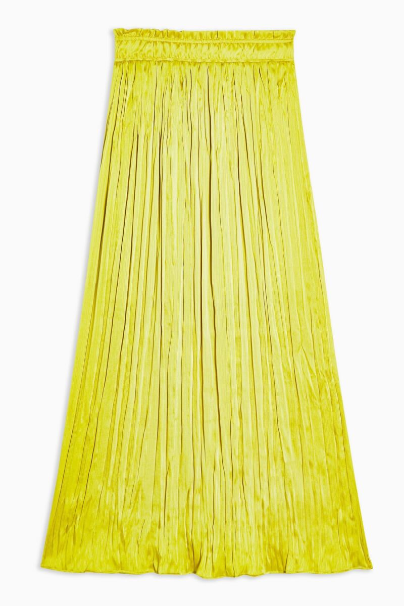 topshop Crushed Satin Pleated Skirt - Chartreuse