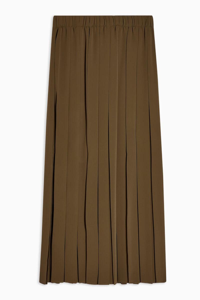 topshop Khaki Pleated Midi Skirt