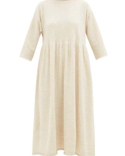 Lauren Manoogian - Raw-edged Alpaca-blend Dress - Womens - Ivory