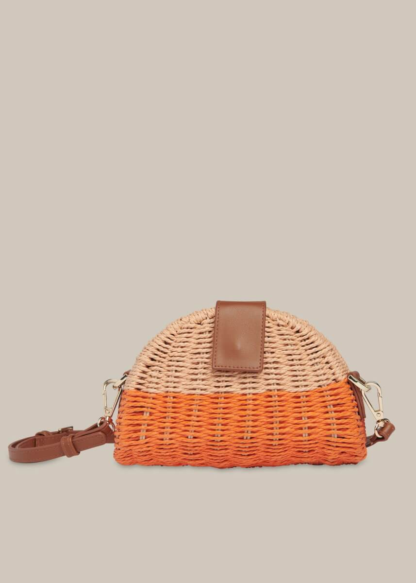 whistles Leo Mini Crossbody Straw Bag orange