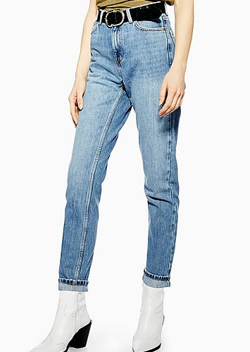 Topshop Mid Blue Wash Mom Tapered Jeans - Mid Stone