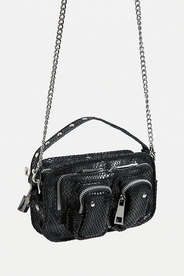 Nunoo Helena Snake Leather Crossbody black