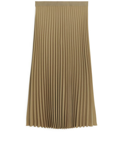 spring essential ARKET Pleated Midi Skirt - Beige