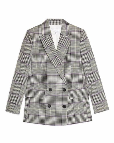 topshop Purple Check Double Breasted Blazer