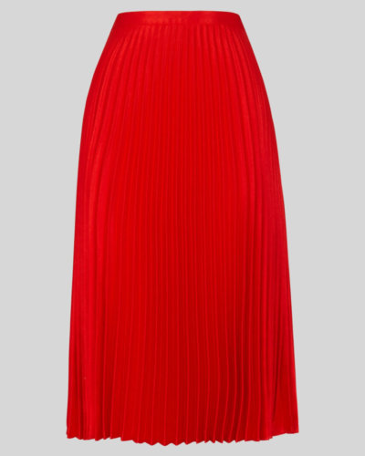 whistles SATIN PLEATED SKIRT red
