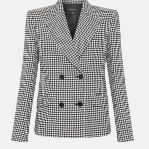 spring essential karen millen Check Tailored Double Breasted Jacket
