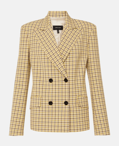 spring essential karen miller Shadow Check Double Breasted Jacket