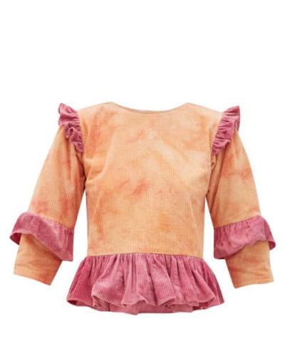 Story Mfg. - Alma Tie-dye Ruffled Cotton-corduroy Top - Womens - Pink