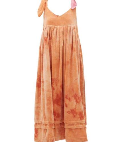 Story Mfg. - Daisy Tie-dye Cotton-velvet Dress - Womens - Pink