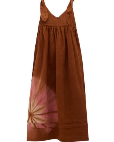 Story Mfg. - Daisy Tie-dyed Cotton-blend Midi Dress - Womens - Brown Multi