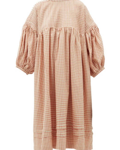 Story Mfg. - Mon Pintucked Gingham Cotton Midi Dress - Womens - Pink Multi