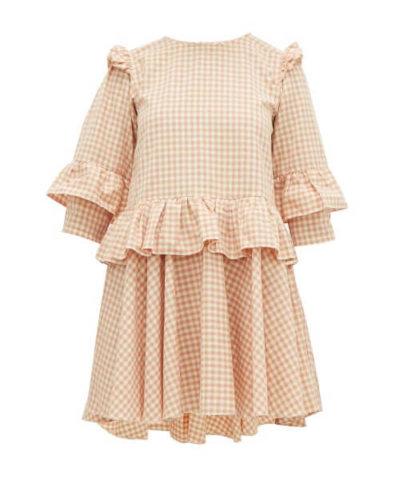 Story Mfg. - Tulsi Gingham Organic-cotton Mini Dress - Womens - Pink Multi