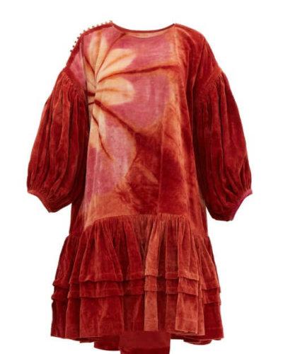 Story Mfg. - Verity Tie-dye Organic Cotton-corduroy Dress - Womens - Burgundy Multi