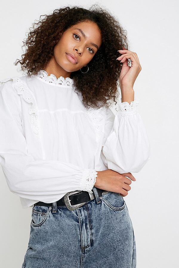 urban outfitters UO Broderie Babydoll Blouse - white