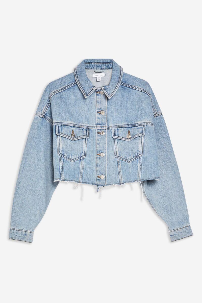 topshop hacked denim jacket blue