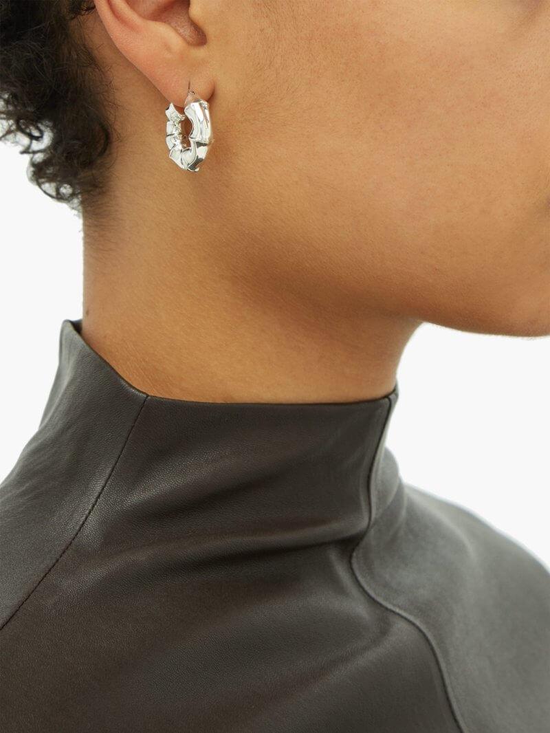 Bottega Veneta - Bamboo-effect Small Sterling-silver Hoop Earrings