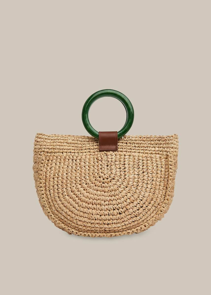 Whistles Selby Straw Half Moon Bag