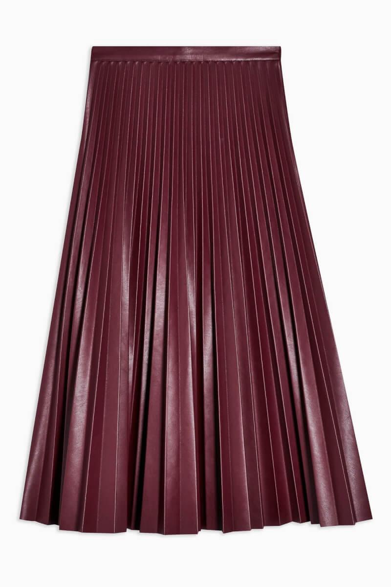 topshop Burgundy Pleated Pu Midi Skirt - Burgundy