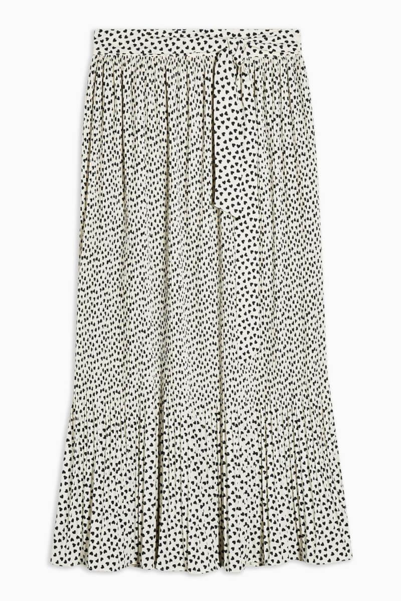 topshop Cream Heart Pleated Midi Skirt