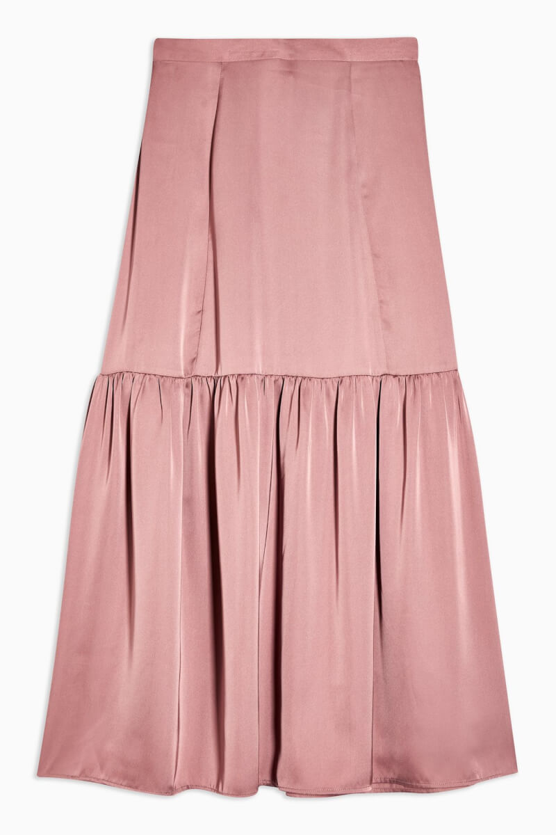 topshop Plain Blush Pink Satin Tiered Midi Skirt