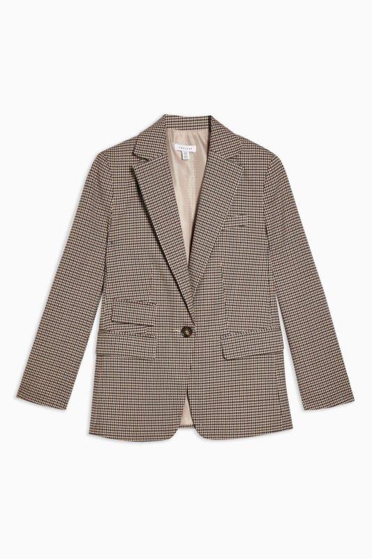 topshop brown check blazer spring essentials