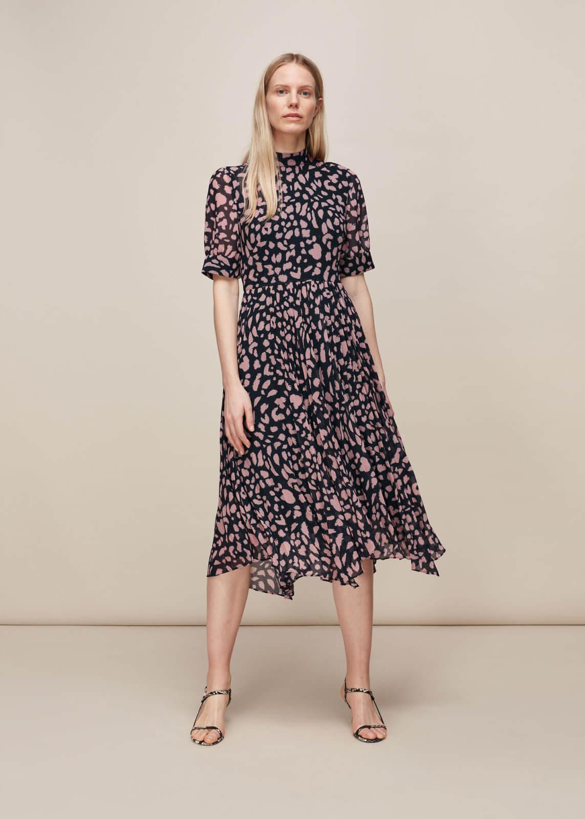 spring essentials cheetah pleated midi dress