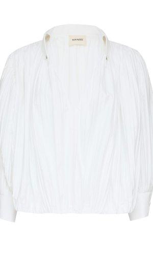 Khaite Malone crinkled cotton-poplin blouse