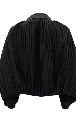 Khaite Malone balloon-sleeve pleated cotton blouse