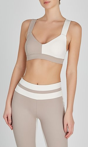 Elsa taupe and white bra top