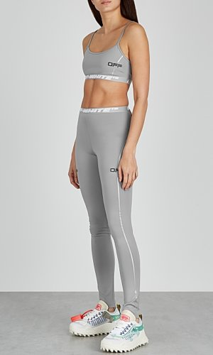 Off White Active grey stretch-jersey bra top
