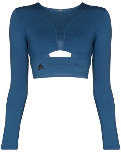 activewear blue ADIDAS BY STELLA MCCARTNEY cutout logo-print cropped top