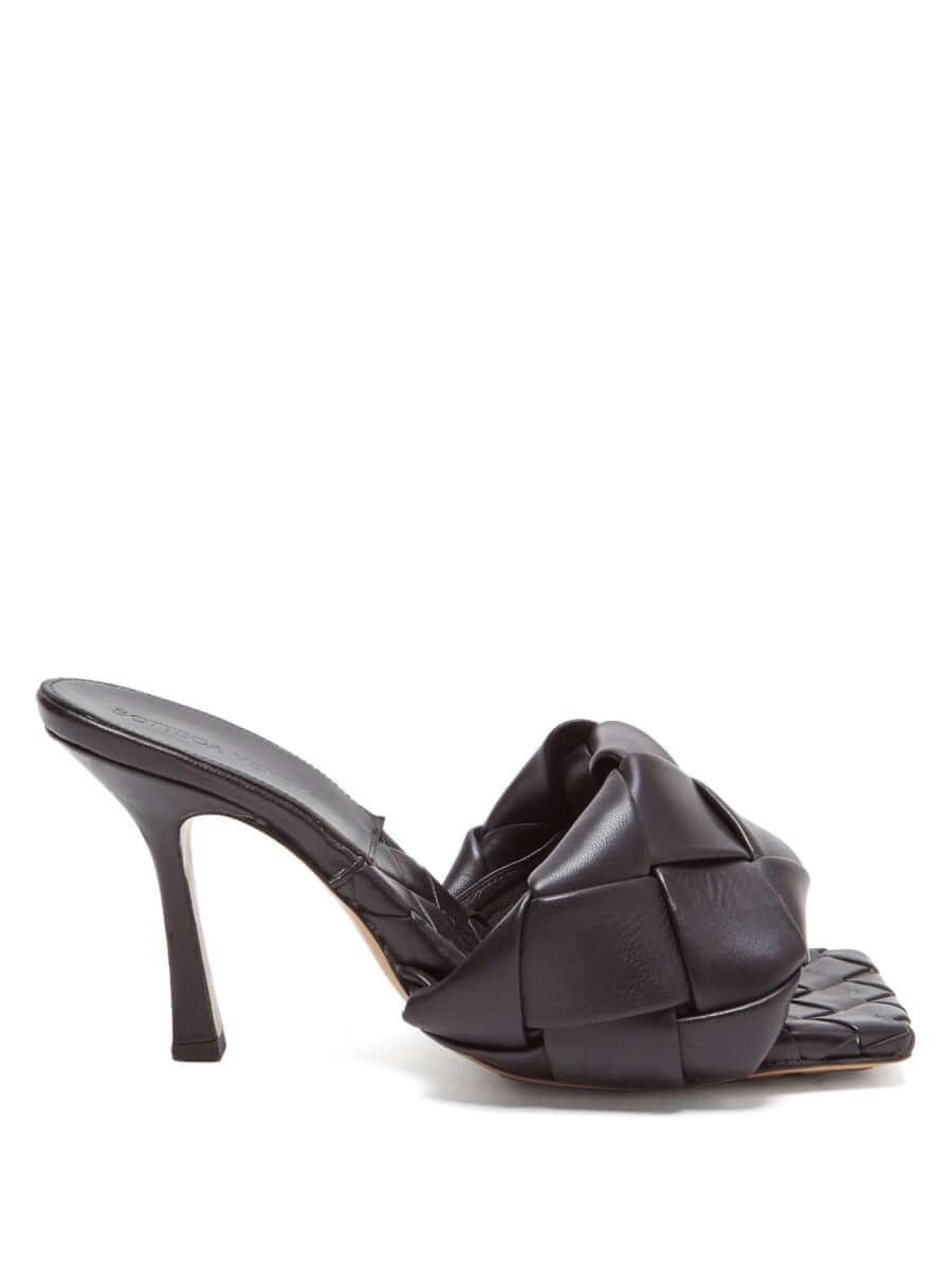 BOTTEGA VENETA BV Lido Intrecciato woven leather mules black