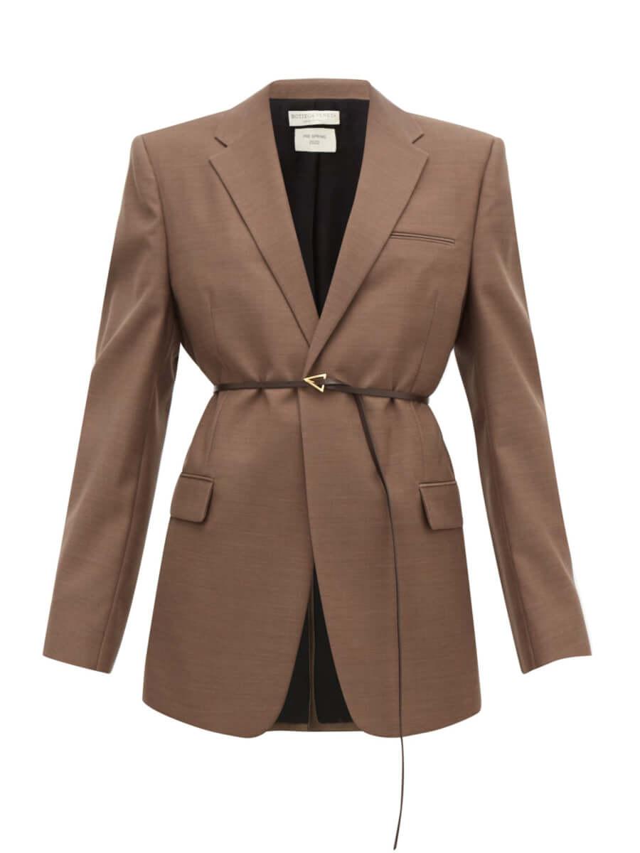 BOTTEGA VENETA Belted single-breasted wool jacket brown