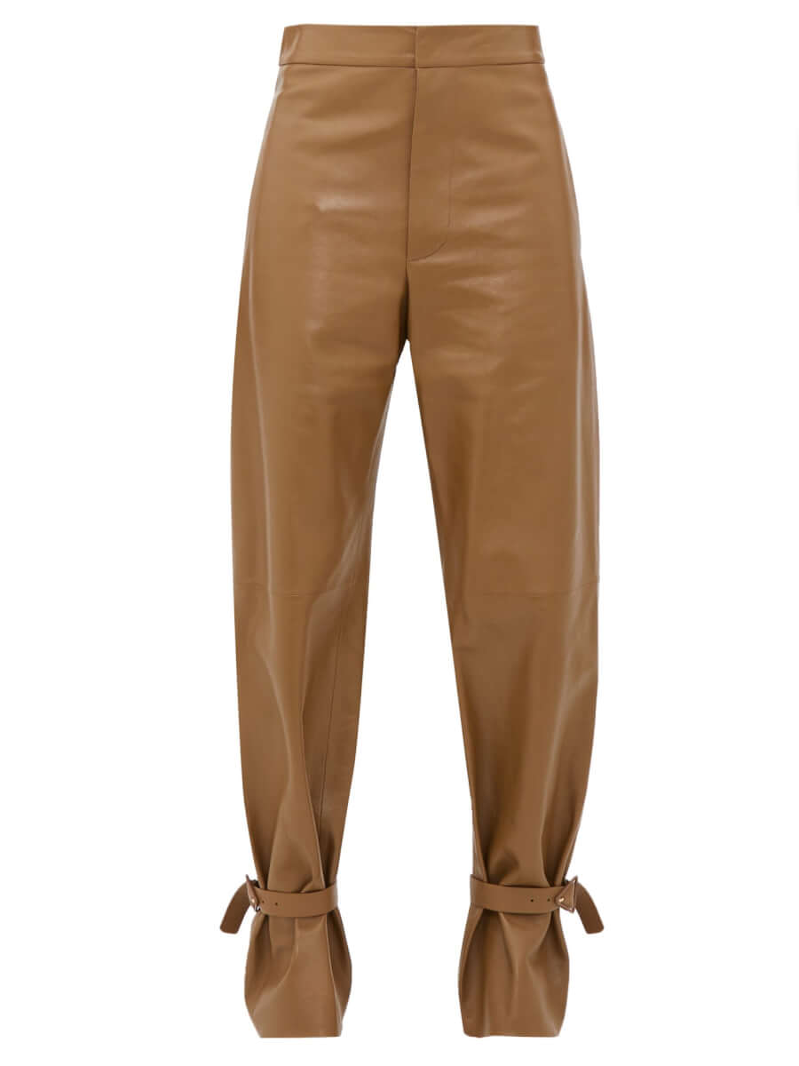 BOTTEGA VENETA Cuffed ankle wide-leg leather trousers