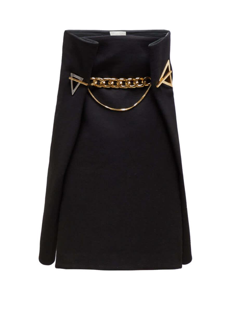 BOTTEGA VENETA Geometric-eyelet cashmere-twill A-line skirt black