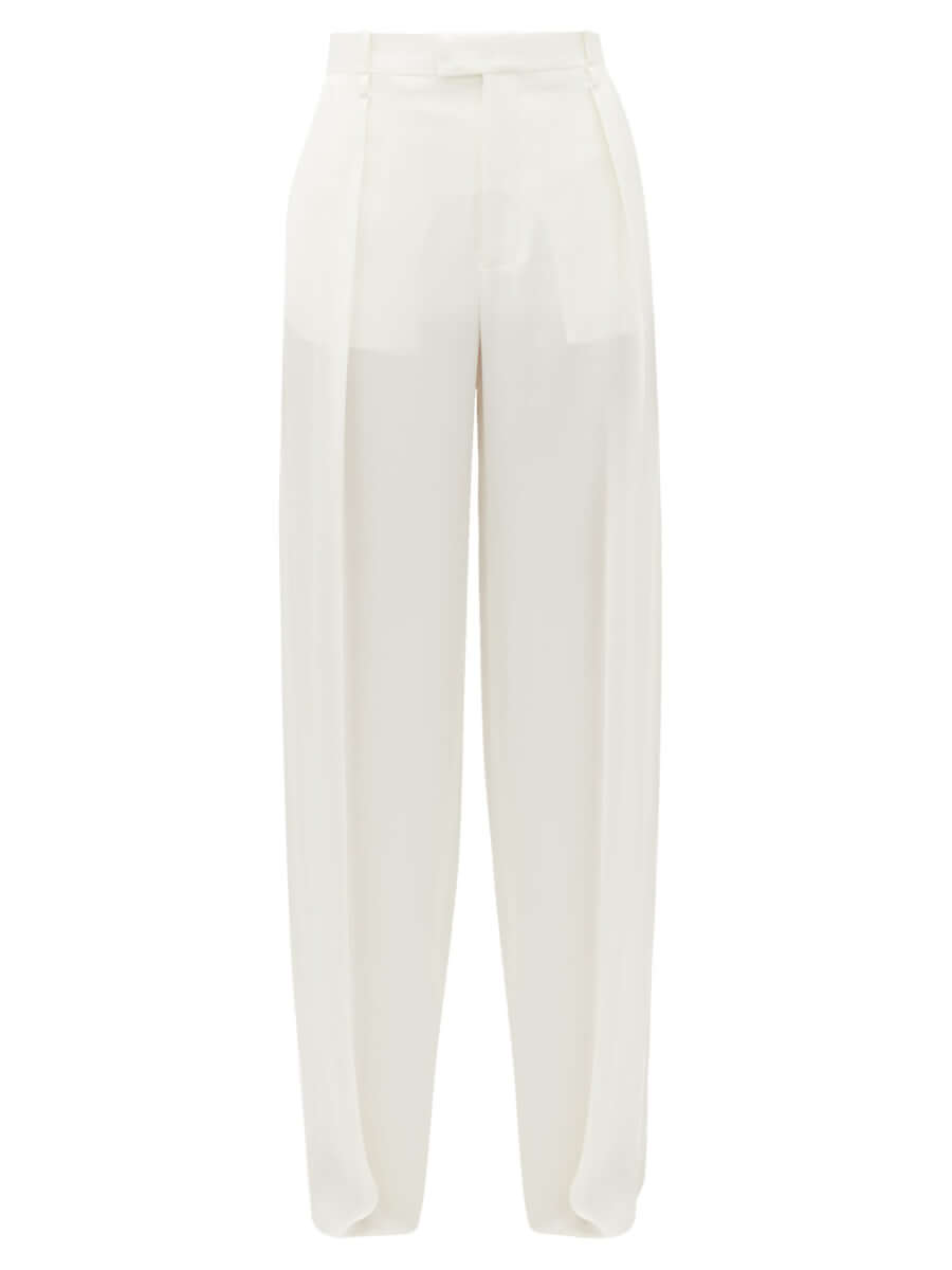 BOTTEGA VENETA High-rise wide-leg silk trousers white