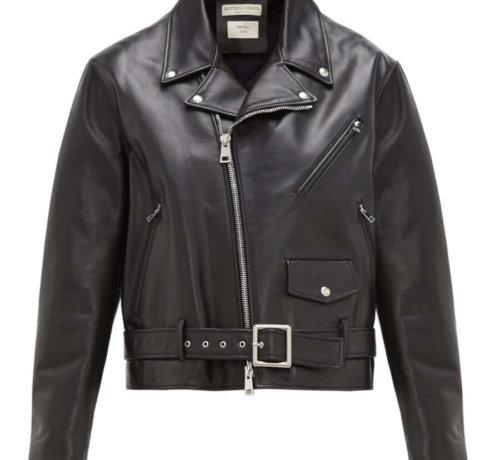 BOTTEGA VENETA Leather biker jacket black