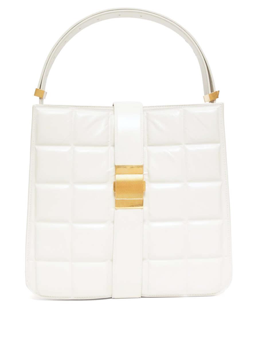 BOTTEGA VENETA Padded Marie leather tote bag white