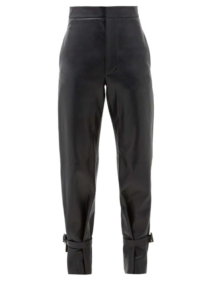 BOTTEGA VENETA Tied-cuff leather wide-leg trousers black