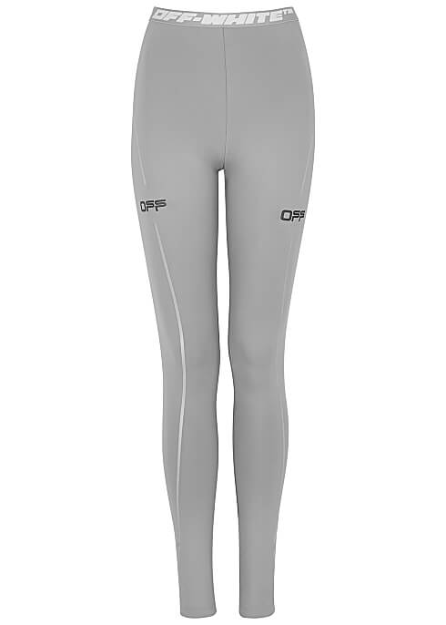 OFF-WHITE Active grey stretch-jersey leggings