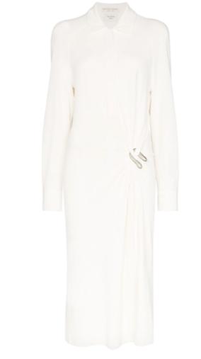 draped shirt dress white