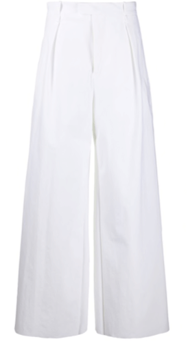 BO high-waisted wide-leg trousers white